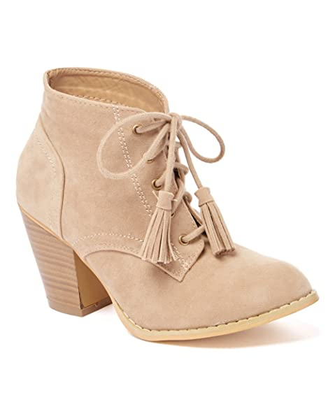 Women's Lace Up Chunky Stacked Heel Ankle Booties with Tassle