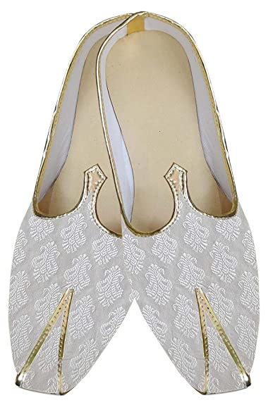 Mens White Brocade Indian Wedding Shoes MJ0168