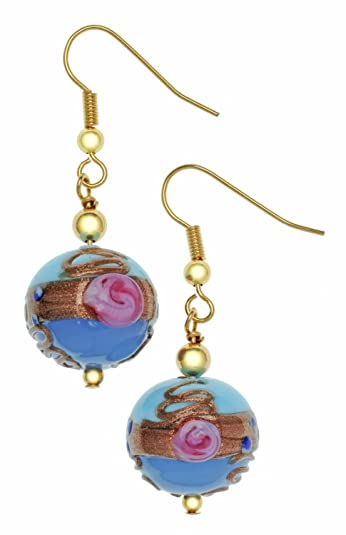 Amanti Venezia Cobalt Fiorato Design Murano Gold Plated Drop Earrings 6jKJ2I