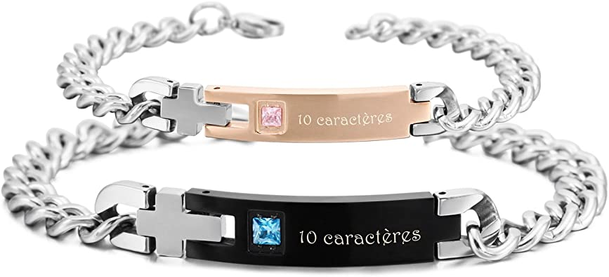 bracelet couple amoureux pour 2 personnalisable