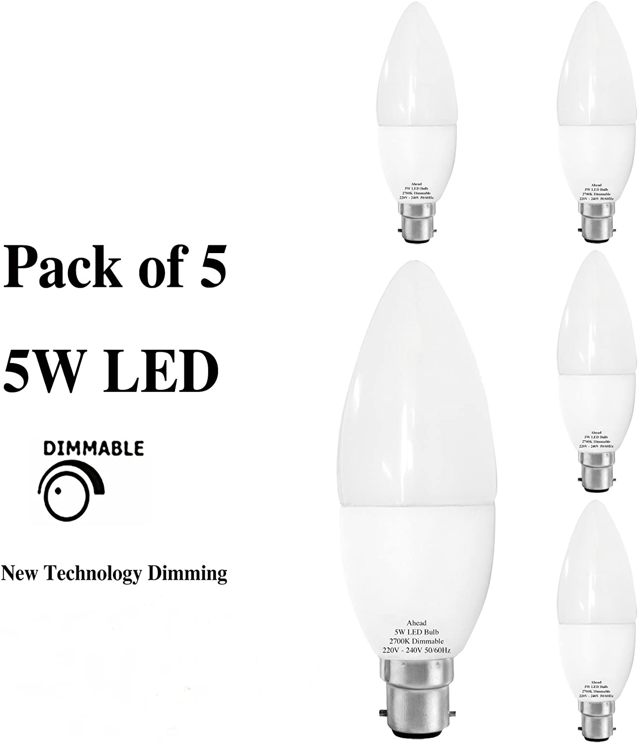 LED Candle 5w = 40w Dimmable SBC B15