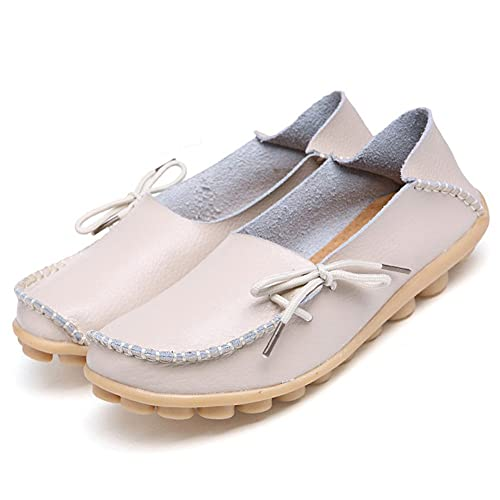 Adibosy Women Slip On Flats Drivers Leather Casual Comfort Shoes Boat  Loafers Footwear Beige 4.5
