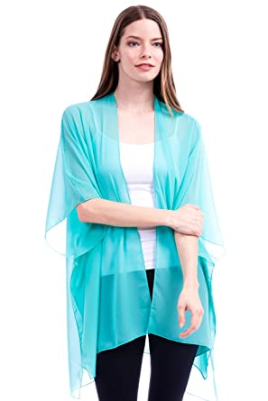 Modern Kiwi Solid Sheer Chiffon Kimono Cardigan Aqua One Size at ...