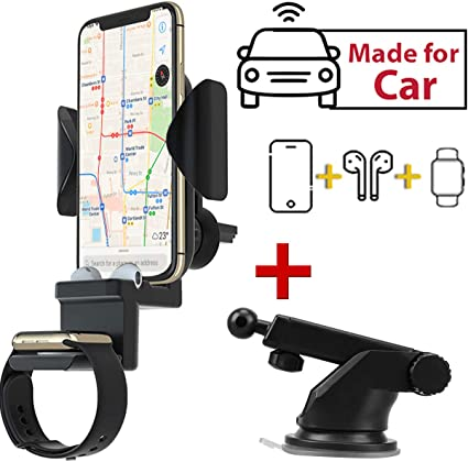 Wireless Car Charger,Detachable 3 in 1 Car Charger Mount,air vent,cradle,Qi Fast Wireless Charger Compatible with Airpods, iPhone XXSXR8 Samsung S9