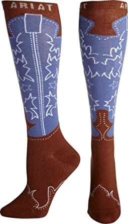 Ariat Women's Western Boot Knee High Socks, Brown, One Size at ...