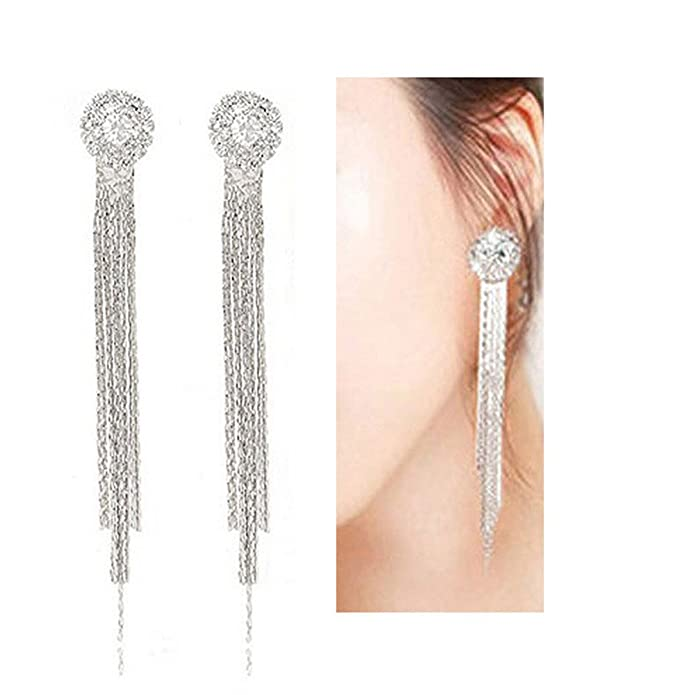 Latigerf Silver-tone Long Tassel Back Non-Pierced Clip on Earring Clips for non Pierced Ears mW0EZ9