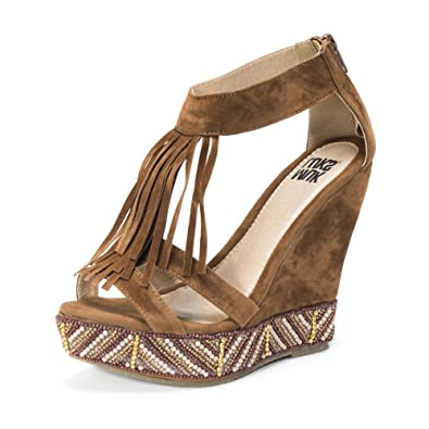 MUK LUKS Women's Ciara Wedge Sandals, Cognac, ...