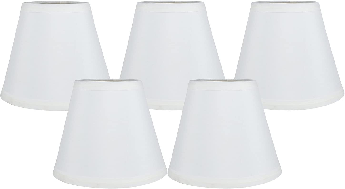 Meriville Set of 5 Off White Linen Clip On Chandelier Lamp
