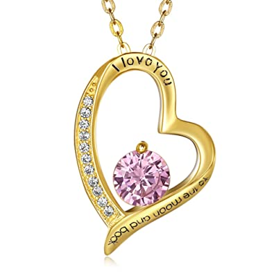 PHABBLE 925 Sterling Silver White Round Shaped Cubic Zircon With Classic Design Fashion Necklace Heart for Women in a Jewellery Box v3djOHNQT