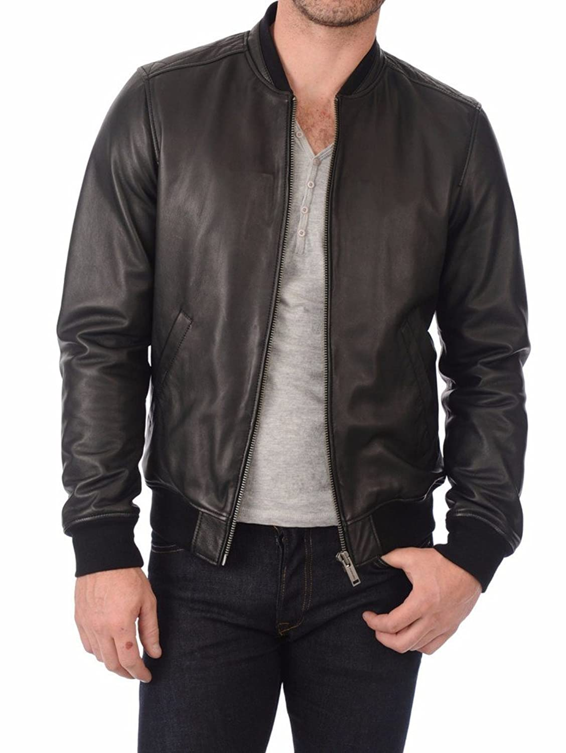 Leather Planet Men's Lambskin Leather Bomber Biker Jacket at ...