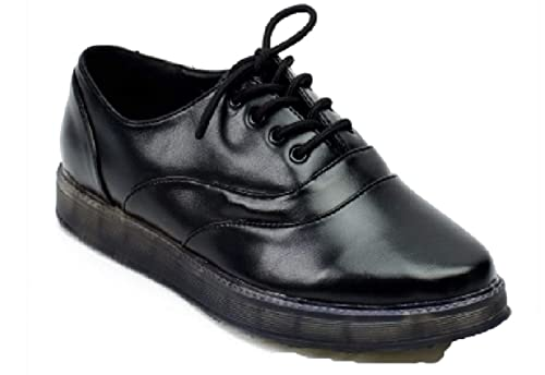 UK Leather Pescatore Flatform Euro Donna Faux Brogues Martin 3 Nero dqHgtx0RRw