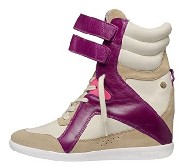 Reebok Womens Alicia Keys Hidden Wedge Fashion Leather Sneaker in Paper White Tan Purple Pink Size
