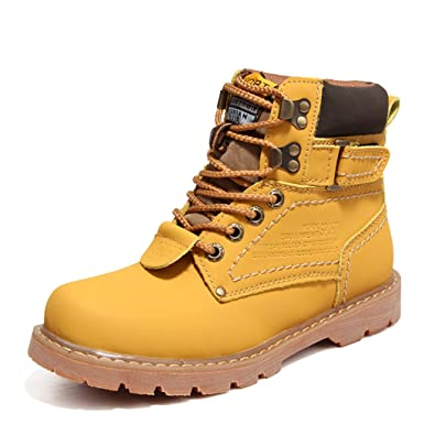 Men's Boots Casual Short Ankle Martin Tooling Boots Winter Lace Up Shoes Yellow US8