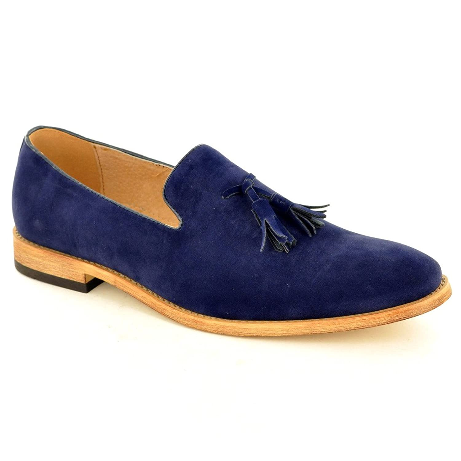 Men's Navy Blue Leather Lined Slip On Suede Tassel Loafers Shoes ( Size 9, Navy  Blue): Amazon.co.uk: Shoes & Bags
