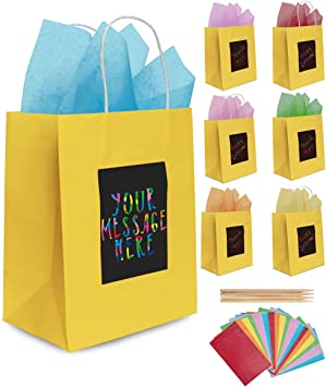 7 Yellow Gift Bags with Scratch Paper Panel for Customisation Tissue Paper Also Included! These Unique Bulk Paper Bags with Handles are great as Small