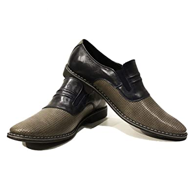 Modello Ladislao - Handmade Italian Mens Gray Moccasins Loafers - Cowhide Embossed Leather - Slip-On