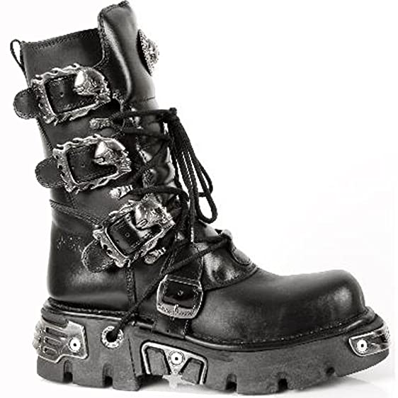 New Rock Shoes - Classic Reactor Boots with Skull Buckles