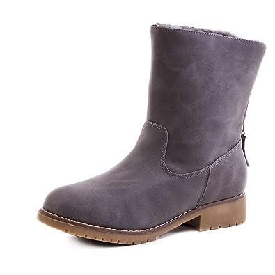 012dad6b4f10 Damen Worker Boots Schlupf Stiefeletten mit Reißverschluss in Lederoptik  Grau 40 Marimo Günstigsten Preis Zu Verkaufen
