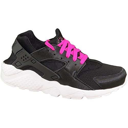 Nike huarache run gs running shoes for girls black white