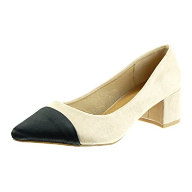 Angkorly - damen Schuhe Pumpe - bi-Material - Dekollete Blockabsatz high heel 4.5 CM