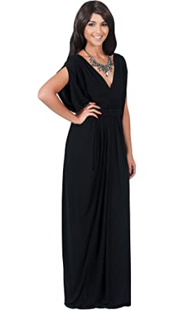 KOH KOH Womens Long V-Neck Summer Sexy Gown Grecian Flowy ...