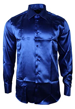 Mens Italian Design Royal Blue Silk Satin Finish Shirt Smart Slim ...
