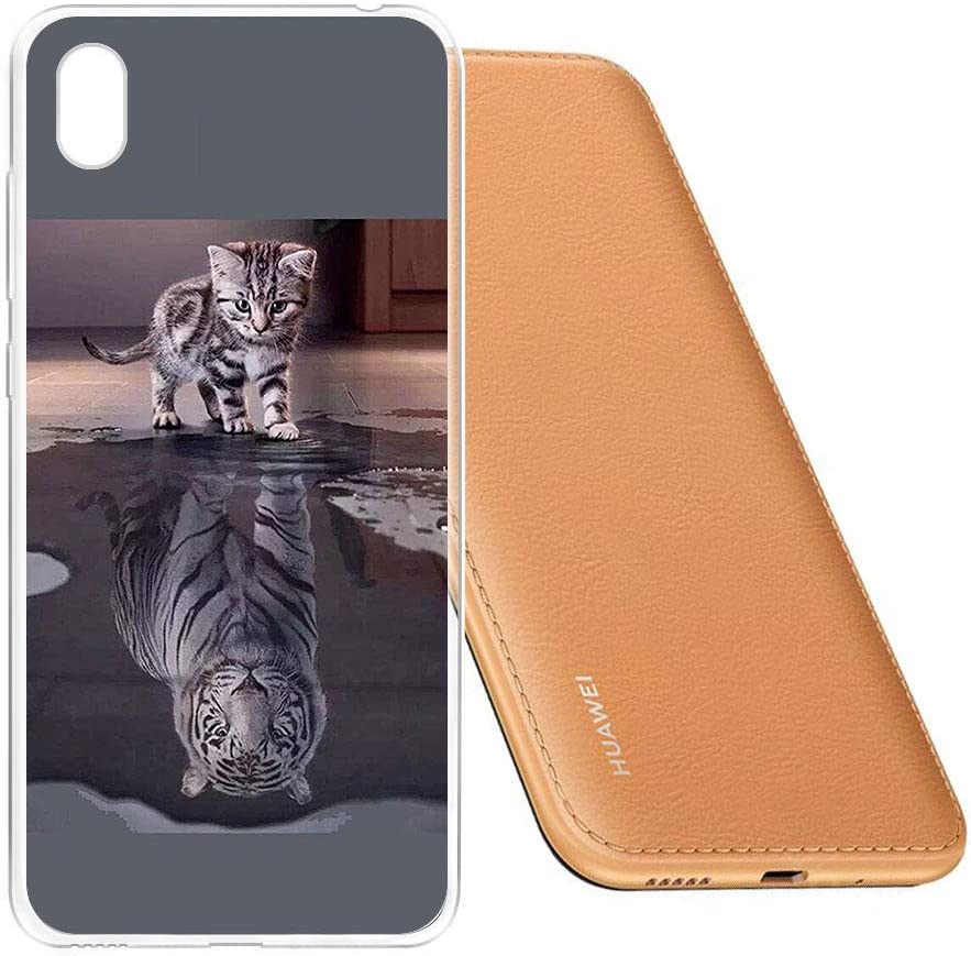 ZXLZKQ Custodia Gatto e Tigre Cover per Huawei Y5 2019, Protezione ...