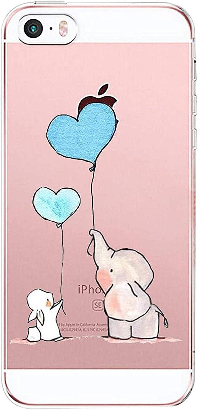 AIsoar Custodia iPhone SE, Cover iPhone 5S iPhone 5 Silicone, Cover per iPhone 5s 5 SE Panda Case Custodia Silicone Trasparente Morbido Ultra Sottile ...