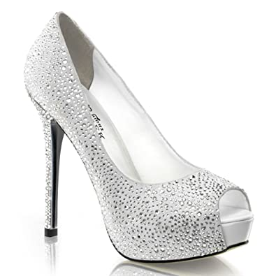 Amazon.com | 5 Inch Rhinestone Peep Toe Pumps Black Silver Women's ...