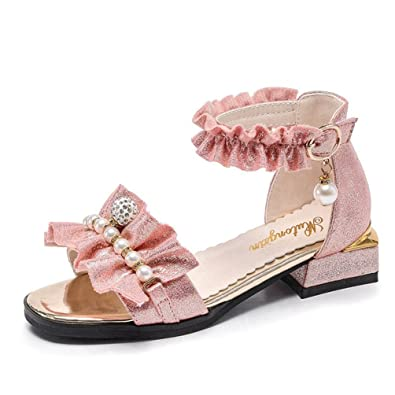 Girls Sommer Sandalen Metallic Offene Zehe Kleine Ferse Princess Dress Shoes (Kleinkind/Little Kid/Big Kid)