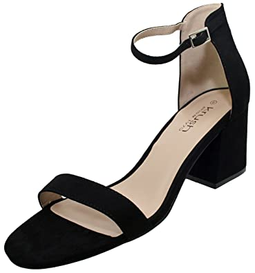 Krush Womens Chunky Block Heel Ankle Strap Open Toe Sandals Black Suede/ Silver