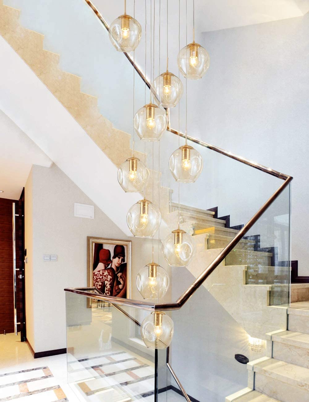 10 Glass Balls Staircase Chandelier Long Pendant Light