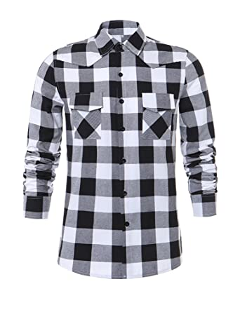Tribear Mens Casual Button Down Long Sleeve Plaid Shirts at Amazon ...