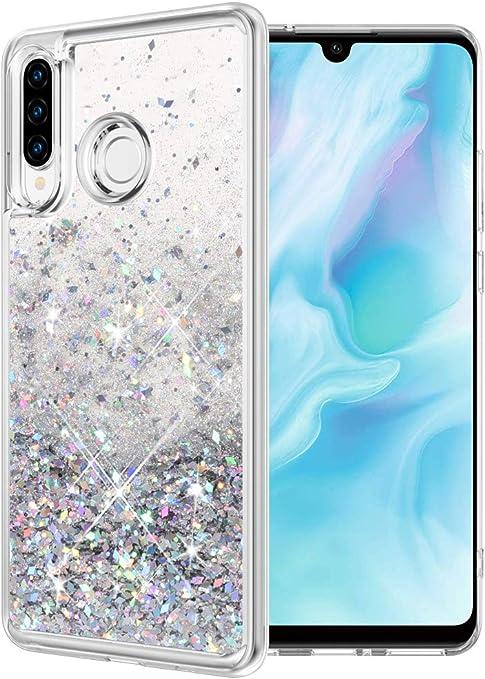 wlooo Cover per Huawei P30 Lite, P30 Lite Cover, Cover Huawei P30 Lite, Glitter Bling Liquido Custodia Sparkly Luccichio TPU Silicone Protettivo ...