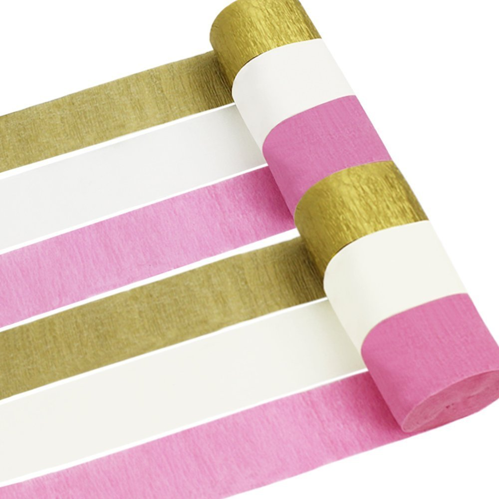 Coceca 12 Rolls Crepe Paper Streamers, 3 Colors, for Birthday Party, Class Gathering, Family Gathering, Thanksgiving, Christmas Decoration