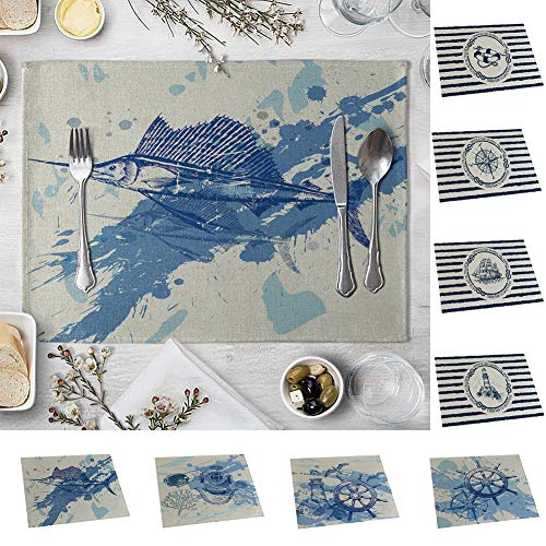 memorytime Fish Rudder Compass Heat Insulated Pad Kitchen Dining Table Mat Placemat Decor Kitchen Dining Supplies - 4# by memorytime (Image #2)