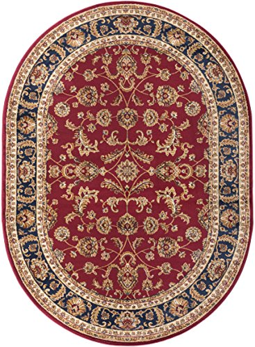 Red Transitional Area Rug - Sariya Transitional Oriental Red Oval Area Rug, 7' x 10' Oval