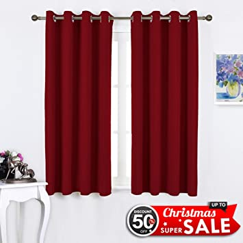 NICETOWN Burgundy Christmas Draperies Curtains   Thermal Insulated Solid  Grommet Blackout Curtains / Panels / Drapes