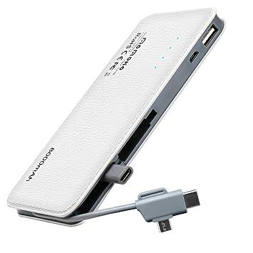 Momoho - Batería Externa de 8000 mAh con Cargador portátil Tipo C Integrado y Micro USB Compatible con la mayoría de los Tipos de teléfonos ...