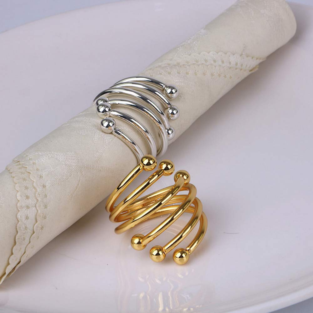 MERFOO 4 pcs Metal Spiral Napkin Rings Round Serviette Holder Buckles for Wedding Party Gold B Table Decorations Dinner Party