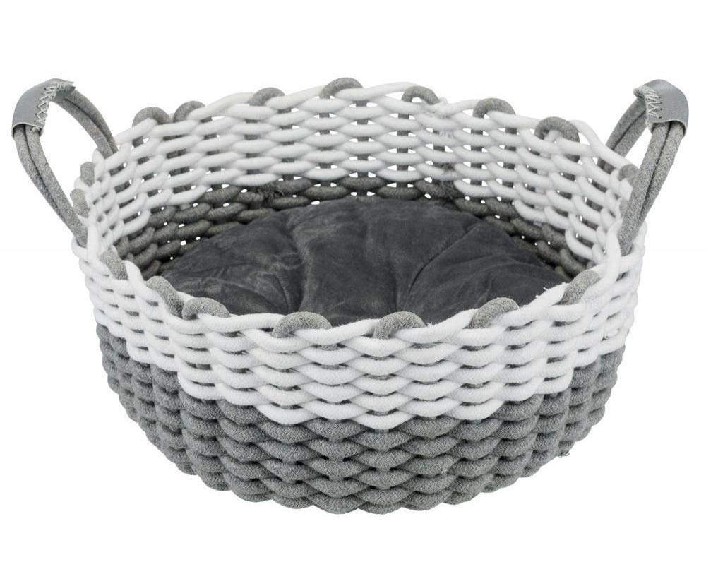 Woven Basket Nabou with Ears, 45 cm Gray/White, Trixie, Cotton, Plush, Fabric, Beds, Dogs by Czech Beads Exclusive