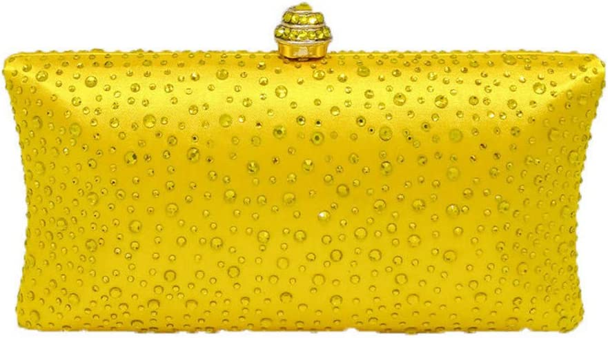 Exquisite Clutch Fashion Diamond Dinner Bag Lady Diamond Clutch Chain Bag Shoulder Bag Evening Package Color : Yellow