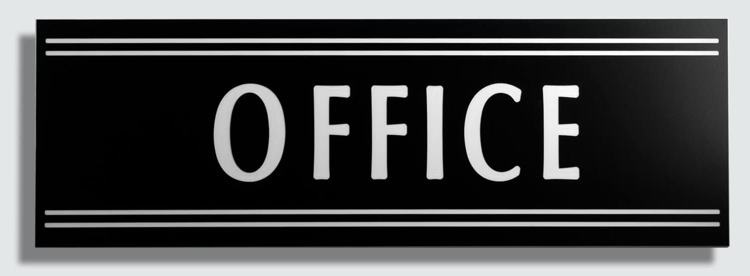 """JP Signs - Office Door Sign – 9X3"""" (Black/White) Engraved Premium Design Office Signage – Communicates Professionalism – For Offices – Not a Sticker – Engraved on Quality ABS Plastic"""