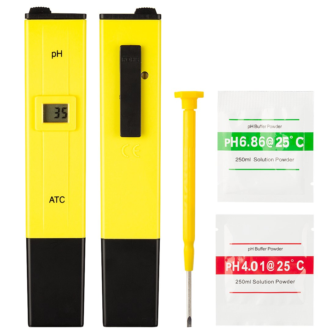 uxcell Mini Pocket Size Digital PH Meter/Tester High Accuracy Household for PH 0-14 Water Quality Test and ATC Add-on 2 Packs Buffer Powder for Calibration Yellow