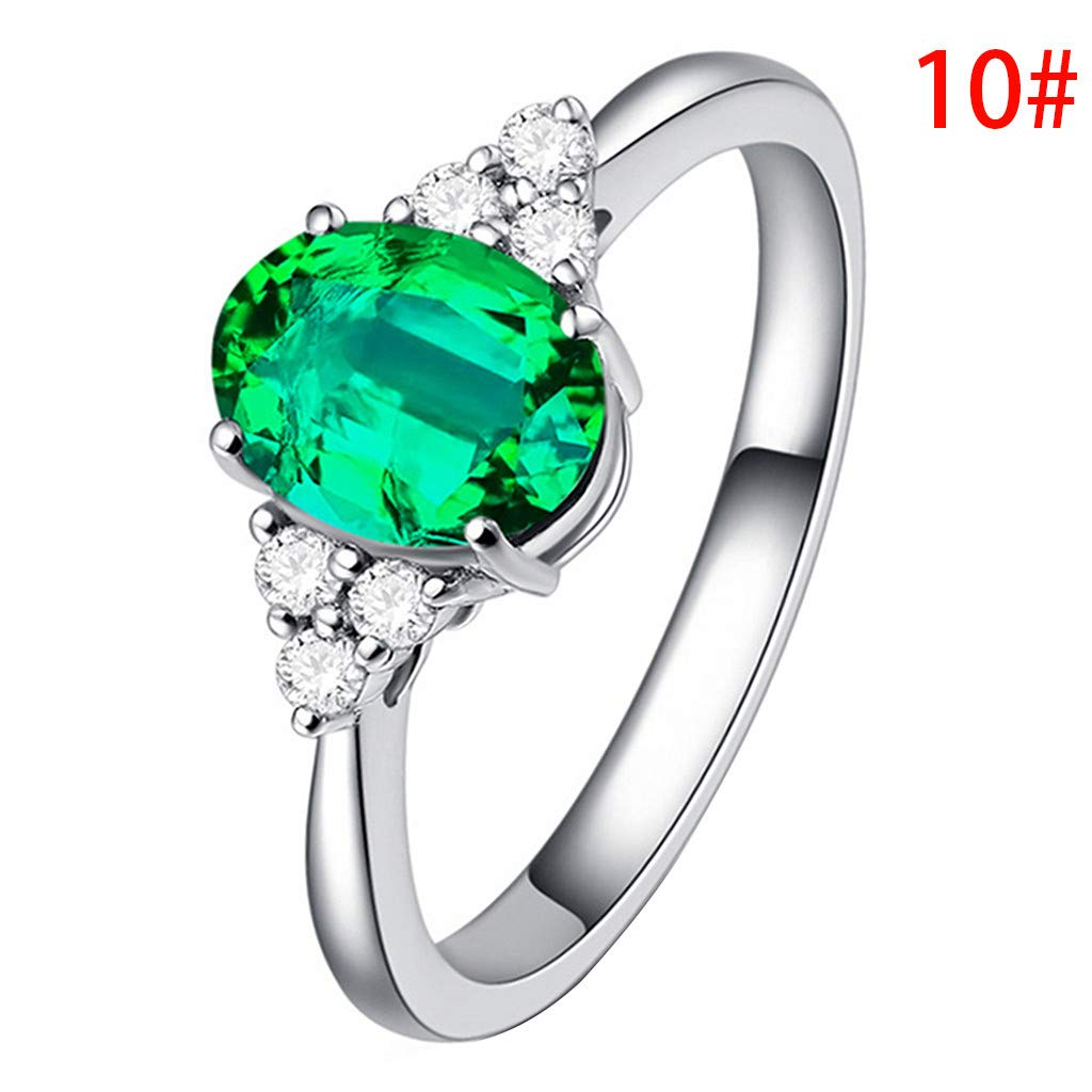 Haluoo Womens Sterling Silver Ring Oval Fire Opal Diamond Band Rings Gemstones Birthstone Halo Solitaire Engagement Rings Turquoise Amethyst Statement Wedding Band for Women Girls