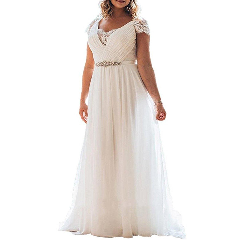 Alanre Deep Scallop Appliques Lace Short Sleeve Plus Size Beach Wedding  Dress for Bride White 28W