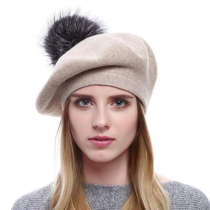 VEMOLLA Cappello Invernale Berretto di Lana per Le Donne con PON PON in  Vera Pelliccia di 3b838e8b8acd