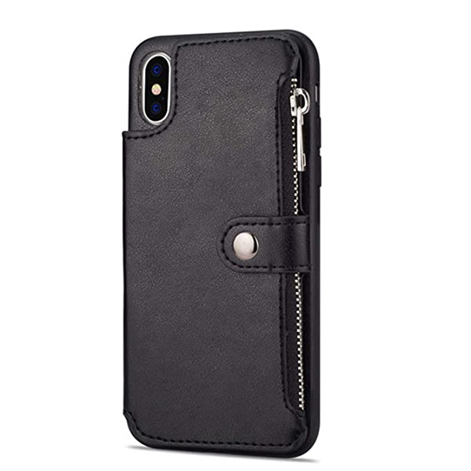 258b3f979fd766 Amazon.com  Retro Zipper Cases for iPhone 8 7 6S 6 Plus Case for iPhone X  XS MAX XR Multi Card Holders Leather Wallet Phone Cover Black for 6 Plus 6S  Plus  ...