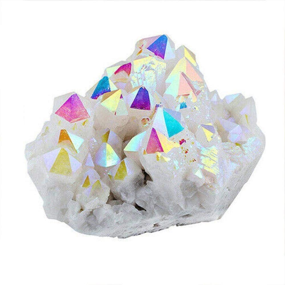 Kapu 70-130G Piedra De Racimo De Cristal Natural White Aura Angel Quartz Cluster Piedras Curativas Muestra Mineral Decoración del Hogar, Blanco, S