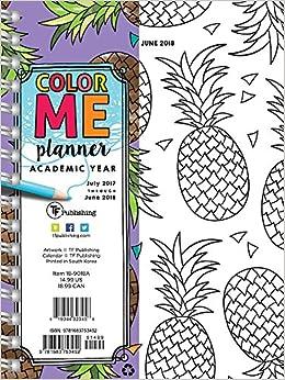 2018 academic year color me pineapples medium weekly monthly planner